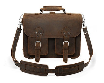 Handmade Distressed Buffalo Leather Briefcase / Messenger Bag / Backpack / Satchel / Laptop Case - 2P