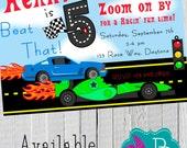 Racing Birthday Invitation Printable -4x6 or 5x7