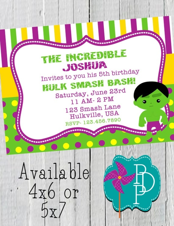 Hulk Birthday Invitation Printable 4x6 Or 5x7