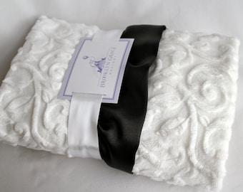 Classic Black and White Minky Baby Blanket - Embossed Vine in White and Black Satin Trim, Tuxedo, Little Black Dress, Embroider