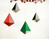 Red, Green n Black Geometric Christmas Ornaments | DIY Paper Decorations: Set of 10 | Tear Drop Diamond Shape | Printables for A4 or Letter