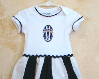 Replica of the Juventus inspired Soccer, Sports Onesies, Appliqued Onesies, Sports Onesies, Onesies with skirt.