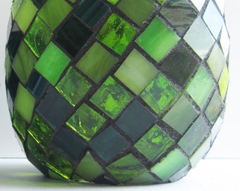Emerald City, green stained glass mosaic votive, candle holder, round, Christmas decorations, dark emerald green, exchange gift, xmas party