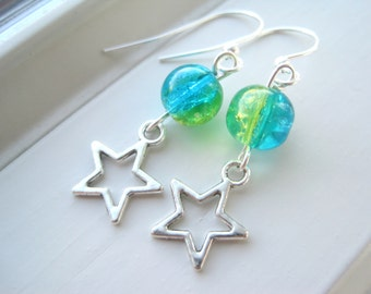 Star Earrings - Star Jewelry - Blue and Yellow - Celestial Jewelry - Charm Jewelry - Yellow Earrings - Blue Earrings