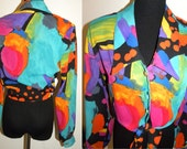 1980's crop tie Blouse Art to Wear Avant Garde color new wave 80s small