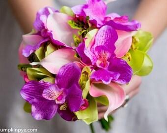 Vibrant orchid cerise and lime bridal bouquet