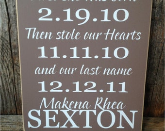 "ADOPTION sign, ""first she was born, then stole our hearts"", adoption, adoption gift, adoption gifts, personalized gift, gifts for adoption"