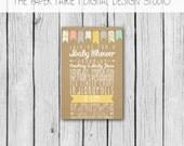 Baby Shower Invitation - Neutral, Boy, Girl - Yellow, Blue, Pink, Grey, Kraft Paper - Chevron, Dots - Banner, Bunting, Flag - Printable, DIY