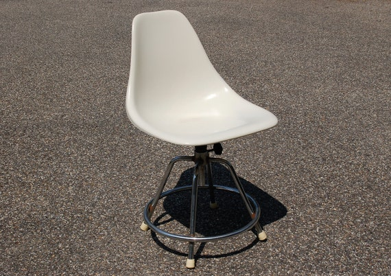 White Fiberglass Shell Chair Chrome Swivel By