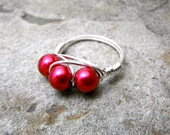 Red Pearl Ring, Cluster Ring, Wire Wrapped Ring, Red Ring, Pearl Jewelry, Wire Wrapped Jewelry Handmade, Burgundy Ring