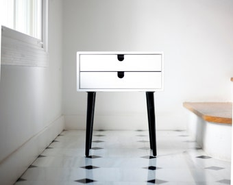 white nightstand table bedside table style midcentury 1 or 2 drawers in solid