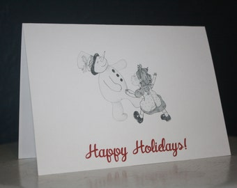 Snowman and girl card - customizable
