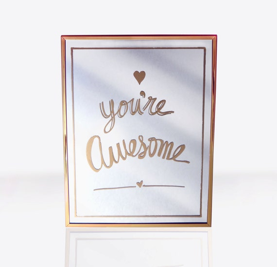 You Re Amazing Script: Items Similar To Gold, Hand Painted Mirror, You're Awesome