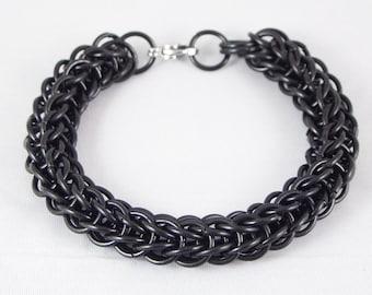 Black Stainless Steel Chainmail Bracelet