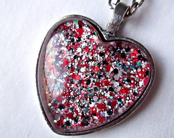 Heart Pendant Necklace; Black, Red, and White Heart Necklace; Hand Painted Glass Heart Pendant; Nail Polish Jewelry; Silver Heart Pendant
