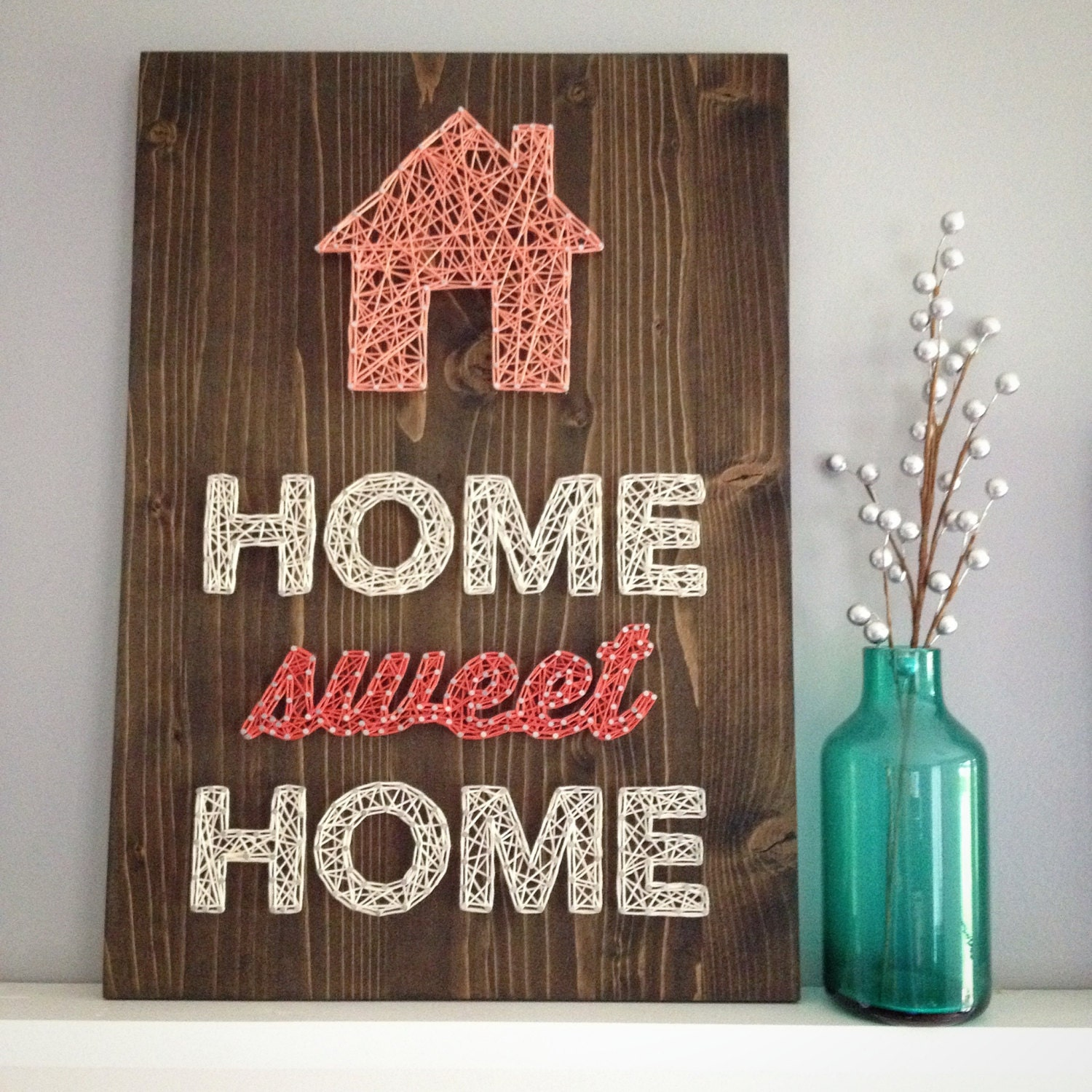 made to order string art home sweet home sign. Black Bedroom Furniture Sets. Home Design Ideas