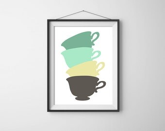 Stacked Tea Cups. Vintage Themed. Simple and Minimal. Tea Cup Poster. Kitchen Poster. Custom Colors. Gift Idea.