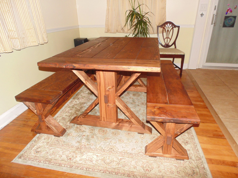 Kent Dining Table Trestle X Farmhouse Reclaimed Wood