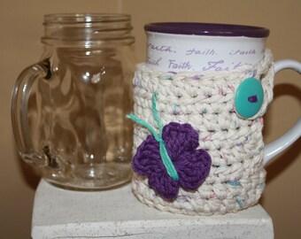 Mug hug.  Mug cover. Mug wrap. Mug Cozy. Cup cover. Cup wrap. Cup cozy.  Crochet Mug cover.  Handmade mug hug. Crochet cup cover.
