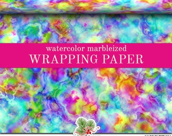Watercolor Marbleized Wrapping Paper | Custom Watercolor Marbleized Gift Wrap Paper  Roll 9 feet or 18 feet  Great For Any Occasion.