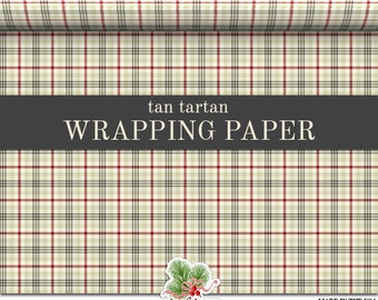 Tan Tartan Custom Wrapping Paper
