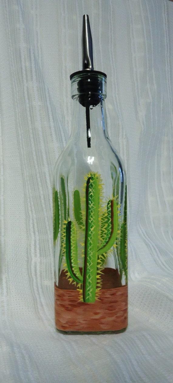 Soap Dispenser Oil Bottle Cactus Painted By Paintandpencilsart