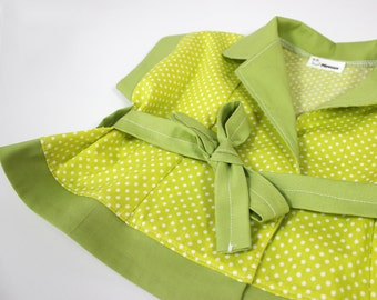 Doll dress for plush hippo - Unique doll clothing - Dress with green polka dots - Handmade doll clothes