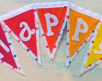 Happy Birthday Polka Dot Felt Banner