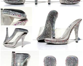 Body Building Competition Heels with Swarovski Crystals or Wedding Heels