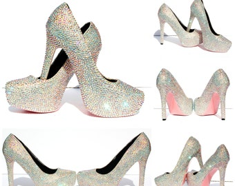 AB Swarovski Crystal Heels with hand painted soles in the color of your choice
