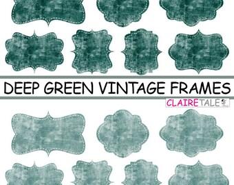 """Digital clipart labels: """"Deep green VINTAGE FRAMES"""" grunge clipart frames, labels, tags on vintage green background"""