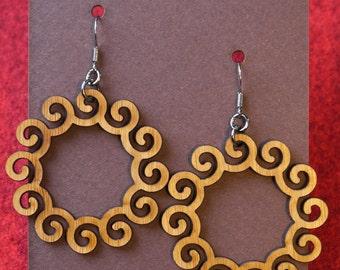 Laser-cut Spiral Loop Earrings