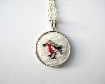 Embroidered robin necklace