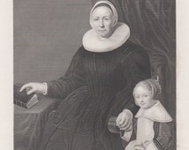 1850 Dutch Mother with Child, Antique Print, Steel Engraving, Bartholomeus van der Helst, La mere et l'enfant, Albert Henry Paynes