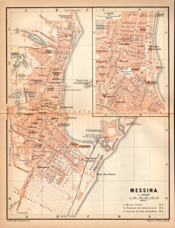 1908 Messina Sicily Antique Map Strait of Messina Port of