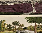 "1790-1810.Antique print""VOLCANOES in Nueva España"".Copper engraving.Colored by hand.By Bertuch.223 years old print..9,9x7,8"" or 25,5x20cm"