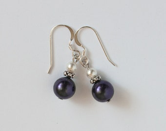 Purple Glass Pearl Earrings, Dark Purple Earrings, 8mm Pearl Earrings, Sterling Silver Earwires