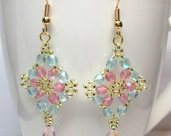 Floral pastel earrings, flower earrings, summer earrings, pink and teal, pink earrings, teal, beadwoven, beadwork,