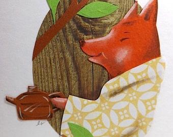 Fox in Kimono with Teapot, Original art