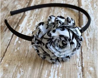 Black and White Damask Shabby Chic Headband, Satin Wrapped Flower Headband, Toddler Headband, Girls Headband, Adult Headband