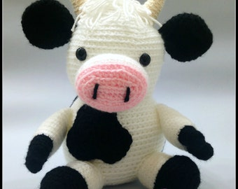 Crochet Cow Amigurumi - Black and White - Farm Animal - Stuffed Toy - Nursery Decor - MADE TO ORDER