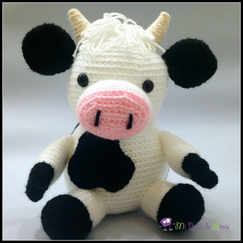 Vaca Lechera Amigurumi : Vaca Amigurumi a Crochet Blanco y Negro Animal de Granja