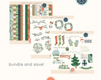 Christmas Digital Clip Art Set - Hand Drawn Illustrations- Commercial Use - instant download