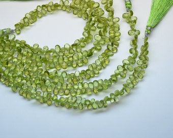 """8"""" Strand 6-8mm Natural Peridot Faceted Pear Shape Briolette Beads Strand-65 Beads"""
