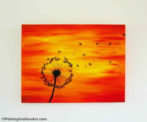 Dandelion Painting On 24x18 Large Canvas Painting Sunset