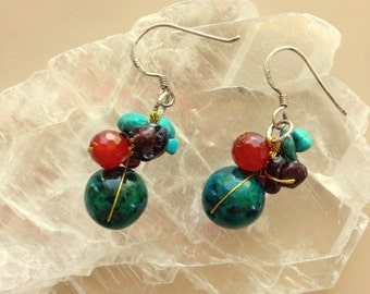 Turquoise, Chrysocolla, Carnitine, Amethyst, Drop/Dangle Wire Earrings