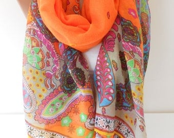 Orange Scarf Shawl Soft Cotton Voile Scarf Paisley Scarf Christmas Gift For Her Mom Sarong Beach Wrap Fall Winter Women Fashion Accessories