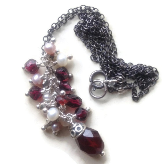 Garnet & Pearl Cluster Necklace, Mixed Metal Jewelry, Root Chakra Jewelry,  January and June Birthstone Jewelry, Garnet Dangle Necklace