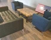 Industrial Coffee Table, Reclaimed Wood, Metal H Shaped Legs, Reclaimed Wood