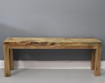 Solid Reclaimed  Wood Bench, Handmade Furniture, DIning Bench,  Entry Bench, Wood Bench
